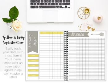 Organizer AND Substitute Binder Bundle for Upper Grades: Yellow and Gray Theme