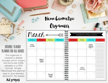 Organizer AND Substitute Binder Bundle for Upper Grades: Neon Geometric Theme