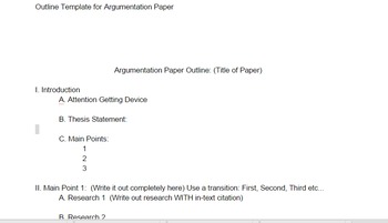 Editable Outline for an Argumentation Research Paper