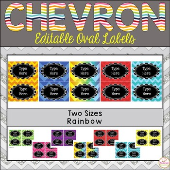 Editable Labels -Oval and Rainbow and Chevron Labels