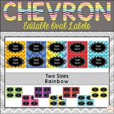 Teacher Toolbox Labels Editable -Oval and Rainbow and Chevron Labels
