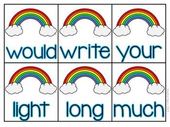 Editable Over The Rainbow- Sight word game
