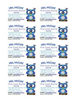 Editable Owl Business Cards