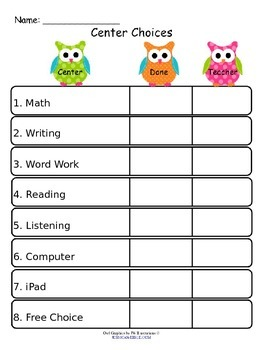 Editable Owl Center Choice Tracking Sheets