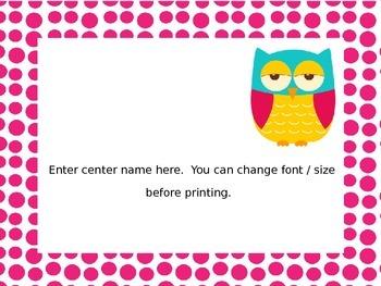 Editable Owl Center Signs