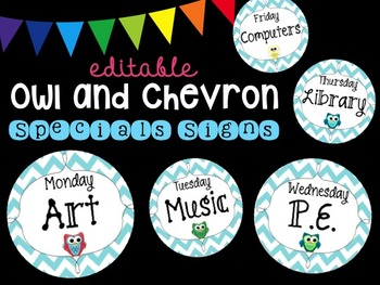 Editable Owl Chevron Specials Signs (Blue)