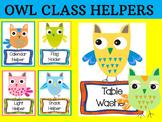 Editable Owl Class Helpers Cards - Brights, Classroom Jobs Owls