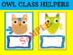 Editable Owl Class Helpers Cards - Brights