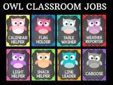 Editable Owl Class Helpers Cards Posters - Chalkboard, Classroom Jobs Owls