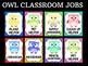 Editable Owl Class Helpers Cards Posters - Chevron, Classroom Jobs Owls