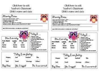 Editable Owl Daily Sheet