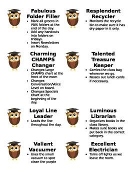 Editable Owl Jobs