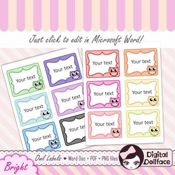Editable Owl Labels / Frame Clip Art / Border Clipart