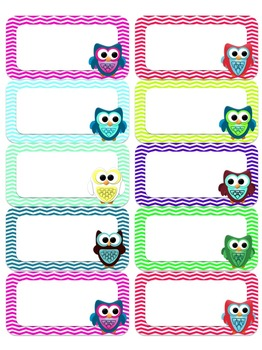 Editable Owl and Chevron NEON Labels (Small)