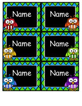 Editable Owl Nametags