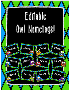 Editable Owl Nametags