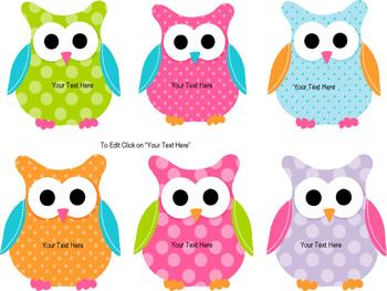 Owl Nametags (Editable)