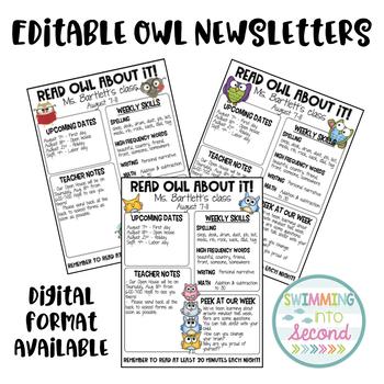 Editable Owl Newsletters