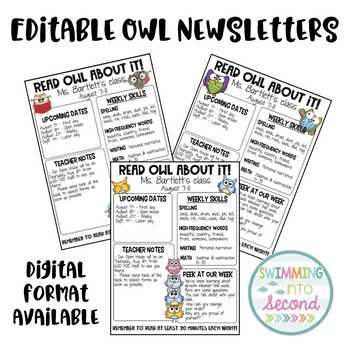 Editable Owl Newsletters