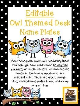 Editable Owl & Polka Dot Themed Desk Name Plates with Handwriting Lines