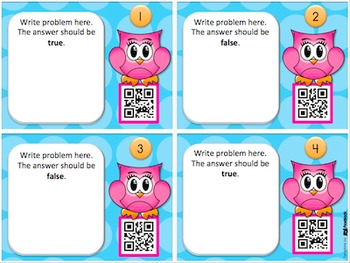 Editable Owl QR Code Task Card Templates - Personal and Commercial Use