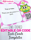 Editable Owl QR Code Task Card Templates - Personal and Co