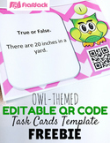 Editable Owl QR Code Task Cards Template FREEBIE