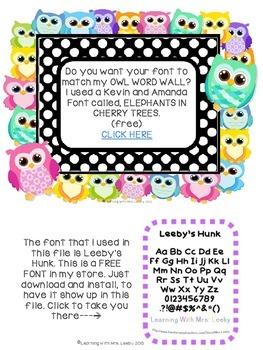 Editable Owl Sight Word Cards