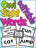 Editable Owl Sight Word Cards