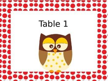 Editable Owl Table Signs