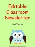 Editable Owl Theme Classroom Newsletter