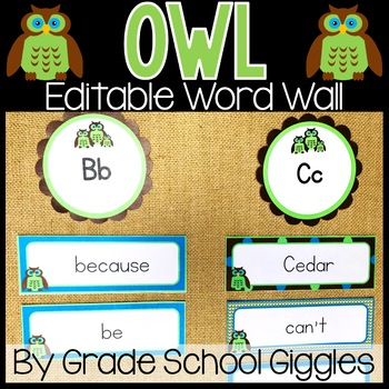 Owl Word Wall Editable