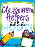 Editable Owl Themed Classroom Helper Signs