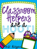 Editable Owl Themed Classroom Helper Signs