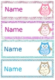 Editable Owl Desk Name Tags/labels