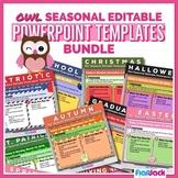 OWL SEASONAL Editable Themed Morning Work PowerPoint Templates Bundle