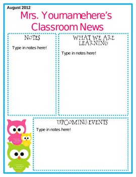 Editable Owl Themed Newsletter By Middle Grades Maven TpT - August newsletter template