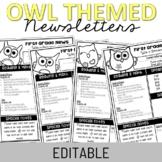 Editable Owl Themed Newsletters