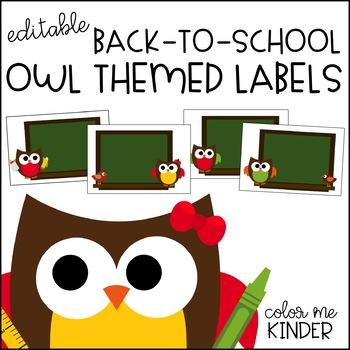 Editable Owl Themed Notebook/ Folder Covers
