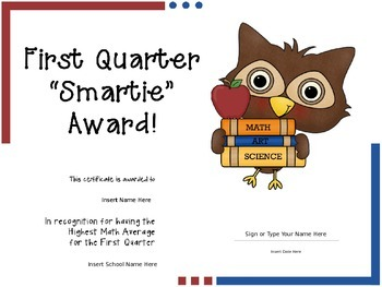 Editable Owl Themed Quarterly Smarties Award Certificates!