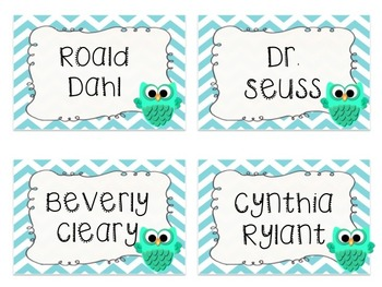 Editable Owl and Chevron Book Label PACK (Blue)