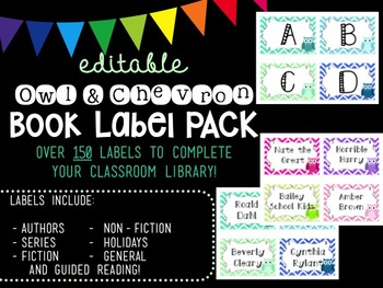 Editable Owl and Chevron Book Label PACK (Pastel)