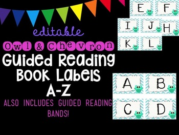 Editable Owl and Chevron Guided Reading Book Labels A-Z