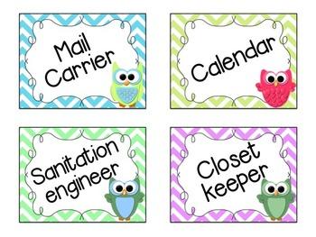 Editable Owl and Chevron Job Cards