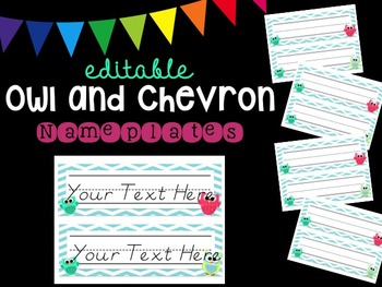 Editable Owl and Chevron Nameplates (Blue)