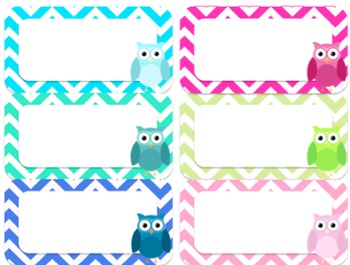 Editable Owl and Chevron PASTEL Labels (Small, 2x4)