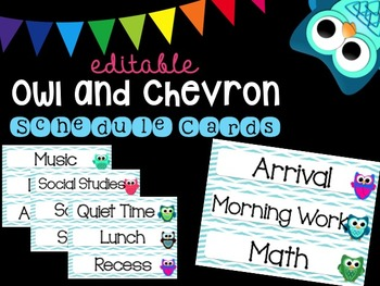 Editable Owl and Chevron Schedule Cards
