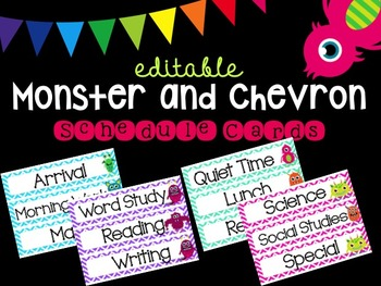 Editable Monster and Chevron Schedule Cards