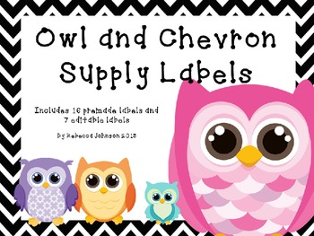 Editable Owl and Chevron Supply Labels