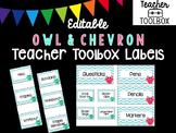 Editable Owl and Chevron Teacher Toolbox Labels